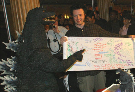 This is me meeting Godzilla in Los Angeles in 2004