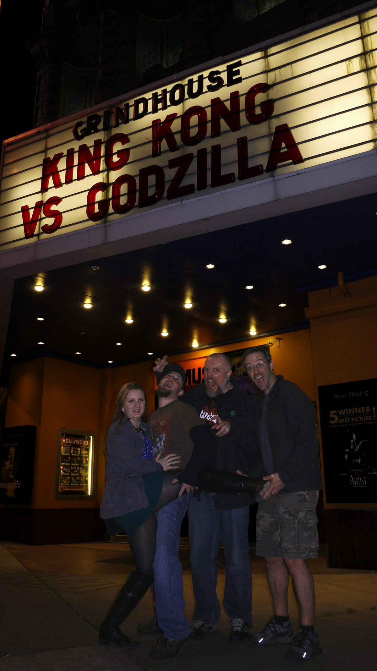 Kaijucast a podcast dedicated to godzilla and all of his rubber heather justin martin i outside of the hollywood theatre after watching king kong kristyandbryce Gallery