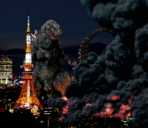 Photoshopped (clearly) image of Godzilla attacking Tokyo.